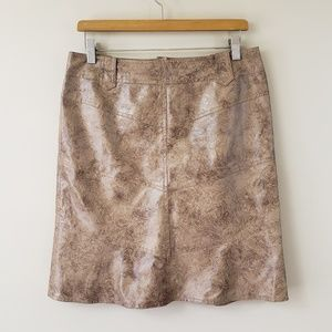 Nanette Lepore Faux Leather Tooled Skirt